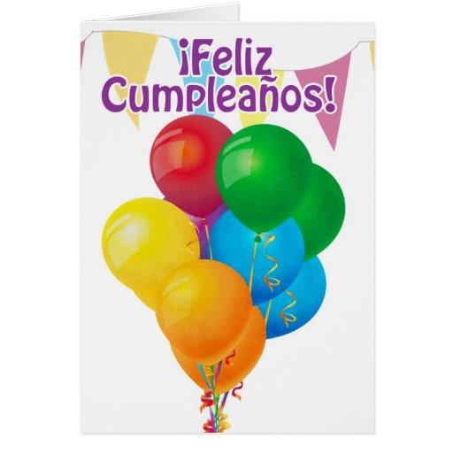 ¡Feliz Cumpleaños con los globos y el empavesado Tarjeton