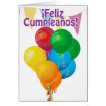 ¡Feliz Cumpleaños con los globos y el empavesado Tarjeta De Felicitación