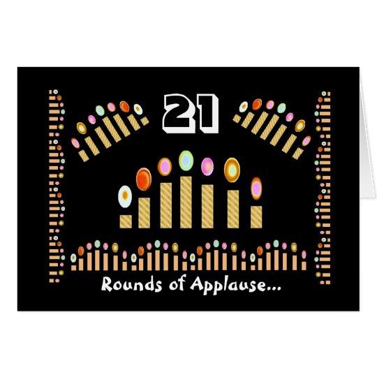 ¡Feliz cumpleaños de 21 aplausos! Velas del oro Tarjeta De Felicitación
