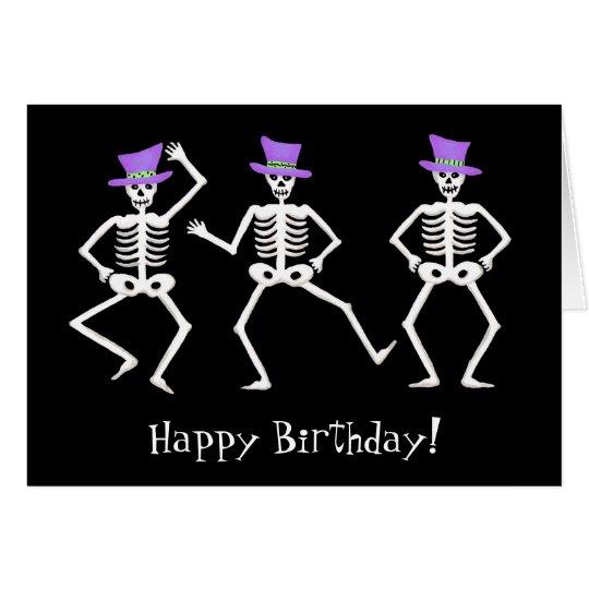 Feliz cumpleaños de baile esquelético negro de tarjeta de felicitación