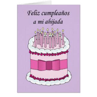 Feliz cumpleaños de la ahijada española tarjeta de felicitación