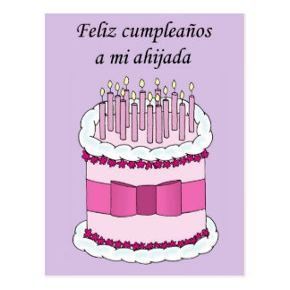 Feliz cumpleaños de la ahijada española postal