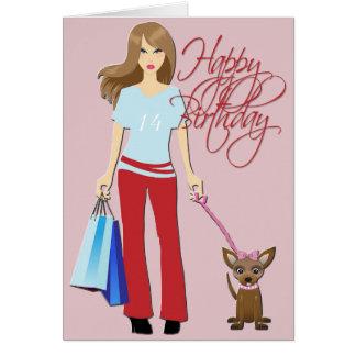 Feliz cumpleaños de la chica joven y del perrito tarjeta de felicitación