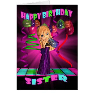 Feliz cumpleaños de la hermana con la pequeña tarjeta de felicitación