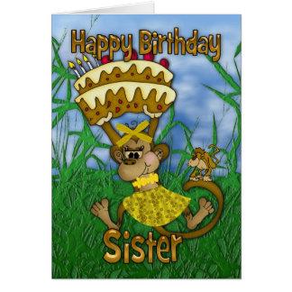 Feliz cumpleaños de la hermana con la torta de la tarjeta de felicitación