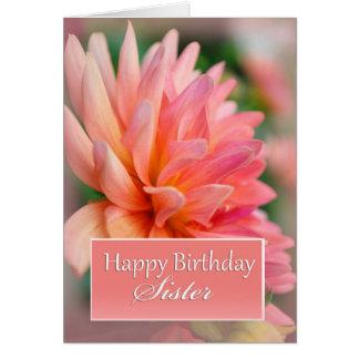 Feliz cumpleaños de la hermana, dalia rosada tarjeta de felicitación