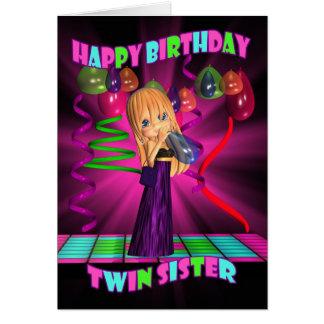 Feliz cumpleaños de la hermana gemela con pequeño felicitación