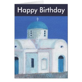 Feliz cumpleaños de la iglesia chipriota griega tarjeta de felicitación