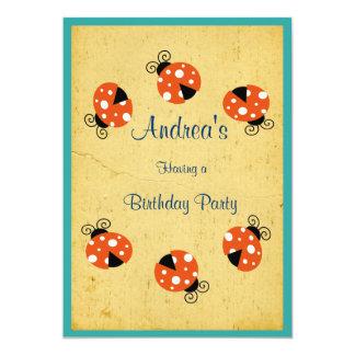 Feliz cumpleaños de la mariquita invitación 12,7 x 17,8 cm