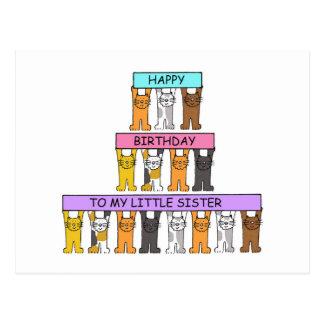 Feliz cumpleaños de la pequeña hermana postal