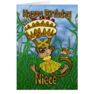 Feliz cumpleaños de la sobrina con la torta de la tarjeta de felicitación