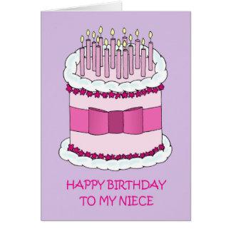 Feliz cumpleaños de la sobrina, torta gigante tarjeta de felicitación