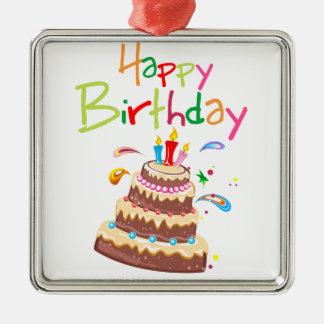 Feliz cumpleaños de la torta adorno navideño cuadrado de metal