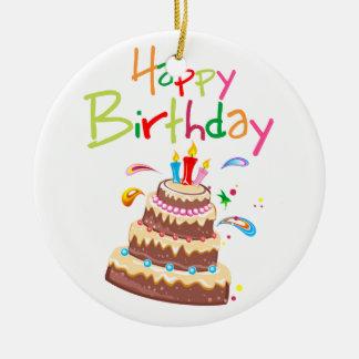 Feliz cumpleaños de la torta adorno navideño redondo de cerámica