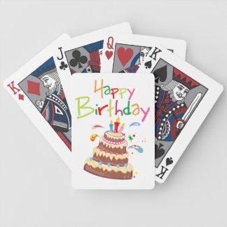 Feliz cumpleaños de la torta barajas de cartas