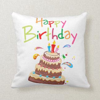 Feliz cumpleaños de la torta cojín decorativo