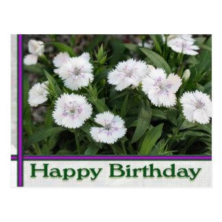 feliz cumpleaños de las flores blancas postal