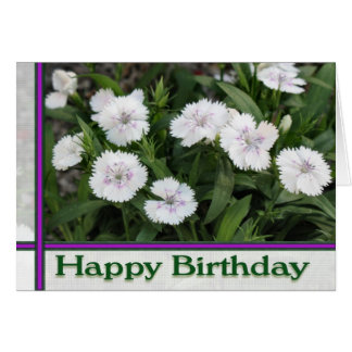 feliz cumpleaños de las flores blancas tarjeta de felicitación