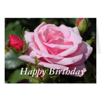 feliz cumpleaños de las flores color de rosa tarjeta de felicitación