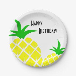 Feliz cumpleaños de las piñas verdes y amarillas plato de papel