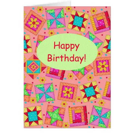 Feliz cumpleaños de remiendo del arte anaranjado tarjeta de felicitación