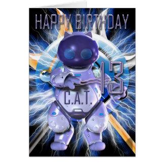 Feliz cumpleaños décimotercero, gato del robot, tarjeta de felicitación