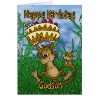 Feliz cumpleaños del ahijado con la torta de la tarjeta de felicitación