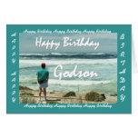 Feliz cumpleaños del AHIJADO - hombre y olas oceán Tarjetón