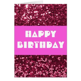 Feliz cumpleaños del brillo magenta tarjeta