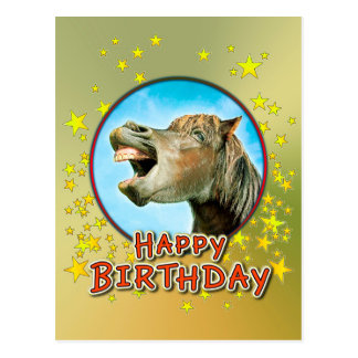 Feliz cumpleaños del caballo de risa postal