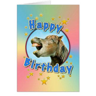Feliz cumpleaños del caballo de risa tarjeta