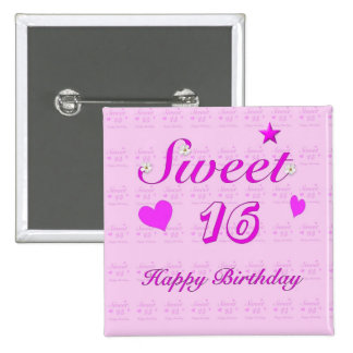Feliz cumpleaños del dulce 16 chapa cuadrada 5 cm