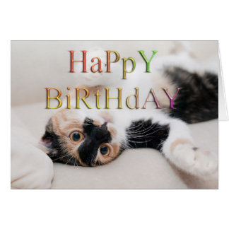 Feliz cumpleaños del gatito dulce tarjeta de felicitación