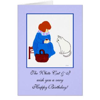 Feliz cumpleaños del gato blanco felicitación