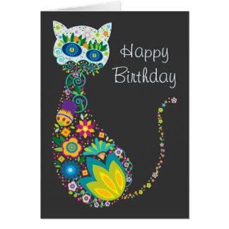 Feliz cumpleaños del gato floral colorido tarjeta de felicitación