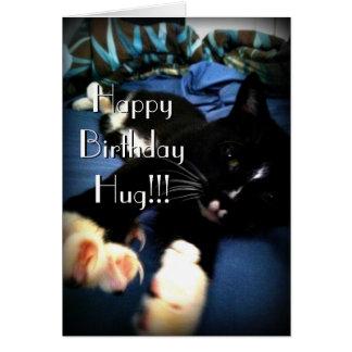 Feliz cumpleaños del gato juguetón tarjeta