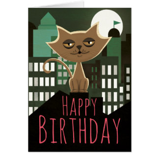Feliz cumpleaños del gato metropolitano de tarjeta de felicitación