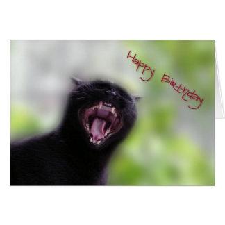 Feliz cumpleaños del gato negro tarjeta