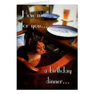 Feliz cumpleaños del gato reservado 2 tarjeta de felicitación