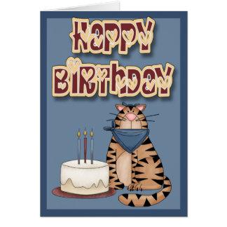 Feliz cumpleaños del gato y de la torta tarjeta de felicitación