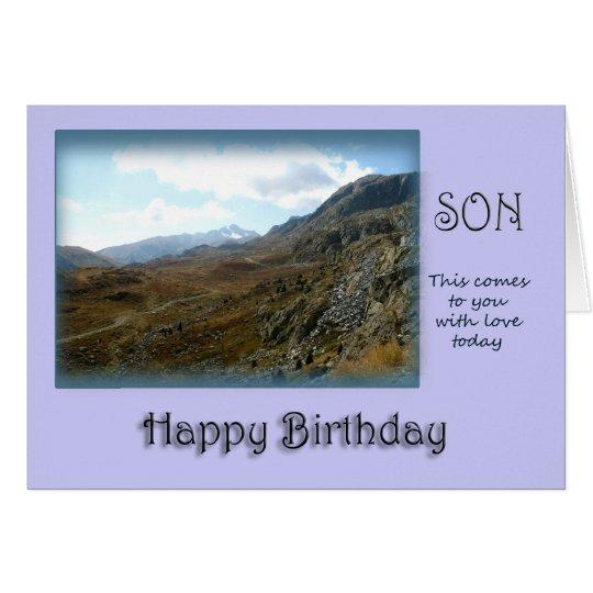 Feliz cumpleaños del hijo - top de la montaña tarjeta de felicitación