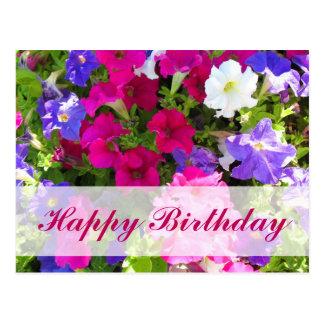 feliz cumpleaños del jardín de flores postal
