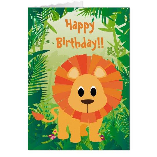 Feliz cumpleaños del león lindo tarjeta de felicitación