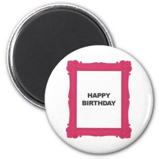 Feliz cumpleaños del marco del marco rosado del fe imán