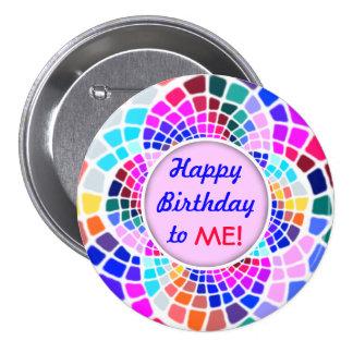 Feliz cumpleaños del mosaico colorido a mí Pin Chapa Redonda De 7 Cm