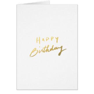 Feliz cumpleaños del oro con clase tarjeta pequeña