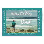Feliz cumpleaños del PAPÁ - hombre y olas oceánica Tarjetón