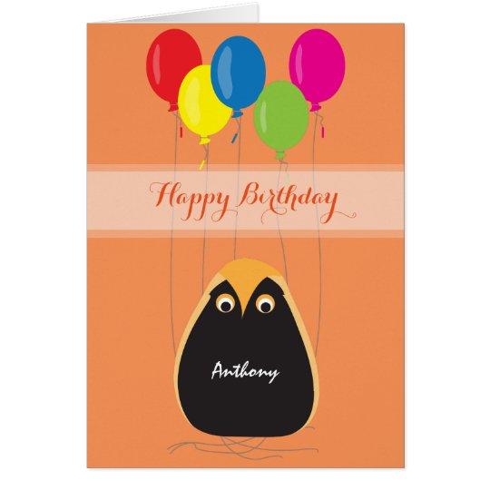 Feliz cumpleaños del personalizar con un búho tarjeta de felicitación