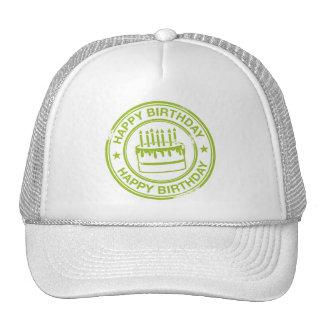 Feliz cumpleaños - efecto verde del sello de goma gorras
