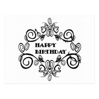 Feliz cumpleaños elegante blanco y negro postal